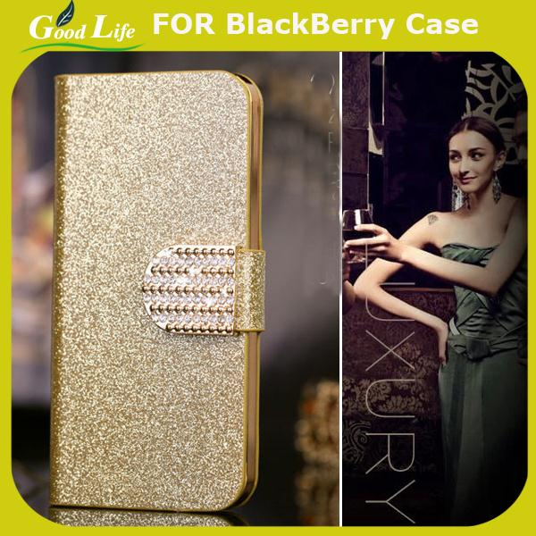 bling case For BlackBerry Q5 Mobile Phone Case Lady Wallet case with Rhinestone fold flip leather cover housing(China (Mainland))