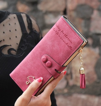 2015 New Korean Nubuck Leather Long Wallet Diamond Small Umbrella Tassels Zipper Purse Designer Famous Brand Women Wallets