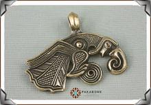 Raven of Odin Hugin Jewelry Viking Scandinavian Solid Bronze Pendant Necklace