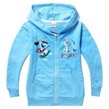 EMS DHL 2016 New Fashion Spring Autumn Kids Girl Boy Child Baby Long Sleeve F Olaf XMAS 100% Cotton Blue Jacket H0140865(China (Mainland))