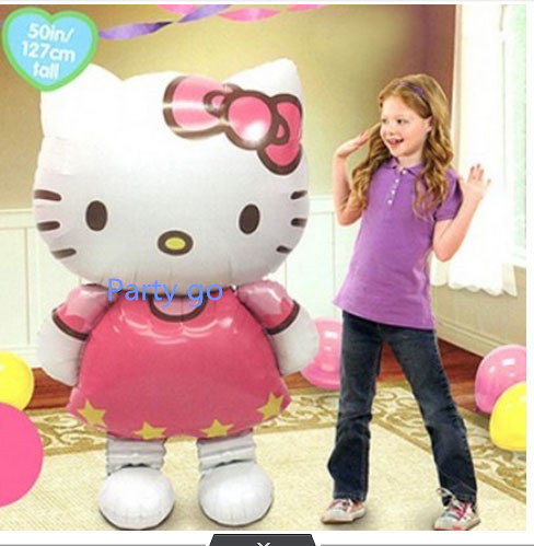 116*65cm large size Hello Kitty Cat foil balloons cartoon birthday decoration wedding party inflatable air balloons Classic toys(China (Mainland))