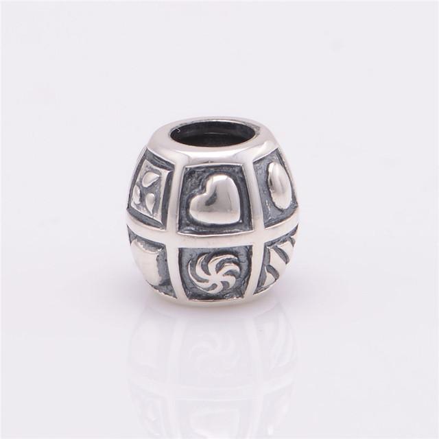 100% стерлингового серебра 925 Jewerly микро-перкуссия сердца бусины DIY выводы ввбр женщины подходит европейским очаровывает браслеты