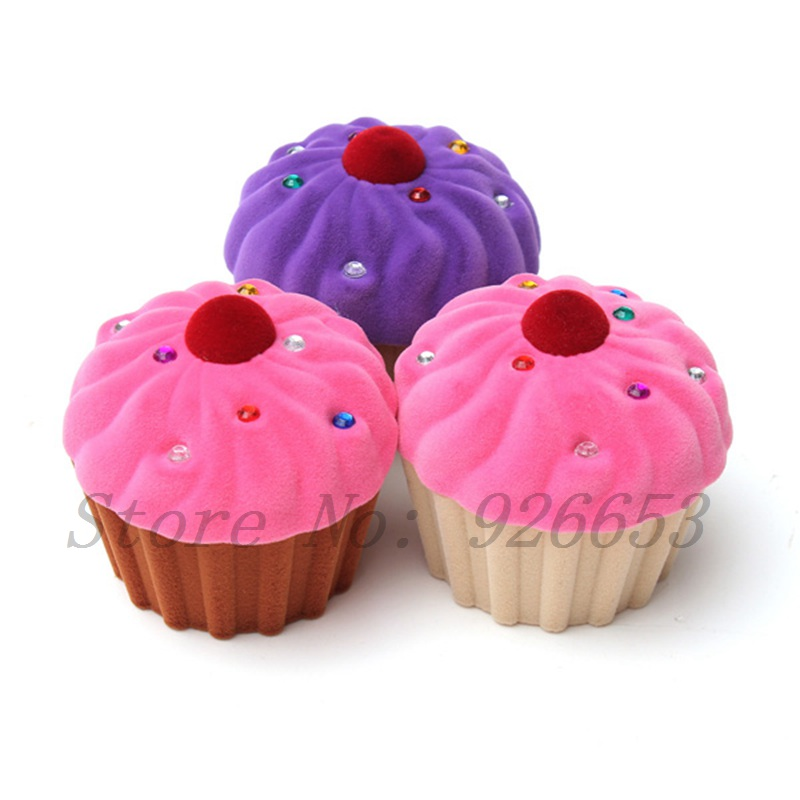 NEW Proposal Case Cute Candy Color Cup Cake Ring Earrings Storage Box Jewelry Box Velvet Gift Boxes(China (Mainland))