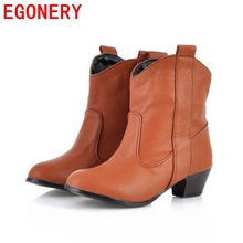 fashion women's soft pu leather ankle boots low heels shoes woman black brown autumn winter western motorcycle ladies boots(China (Mainland))
