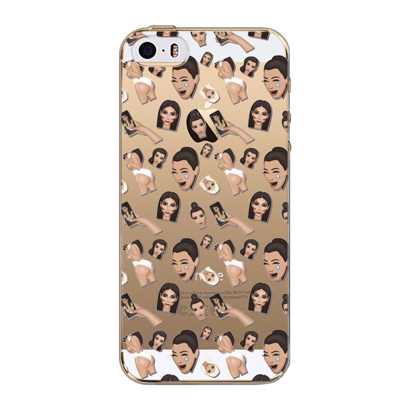 Funny Face Kim Kardashian Emoji Case Cover For iPhone 5 5s SE 5C Ultrathin Soft TPU Clear Back Cover Coque New 2016