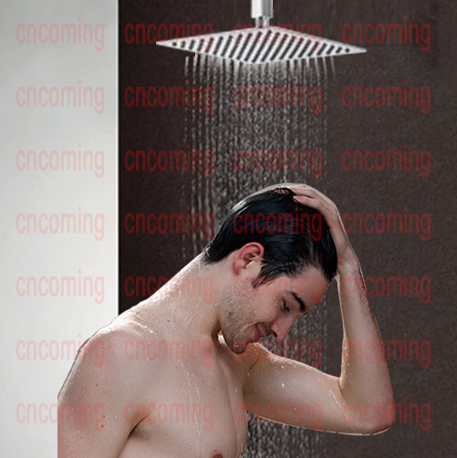 Shower head,Square 12 inch,304 stainless steel, mirror finished,ultra thin, rainning,air power high pressure,save water, DF0003(China (Mainland))