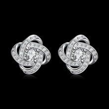 Geometric Design Stud Earring TIF CH TS Cleef Trendy Style Silver Plated & Zirconia Jewelry Accessories For Women Girls MK374