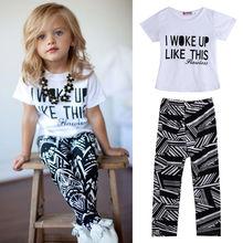 Baby Mädchen Streifen I Woke Up Mögen Dieses Kleinkind hemd und Hose Outfits Set 2 bis 7Y Mädchen Kleidung Sets Kinder Gute Qualität Anzüge(China (Mainland))
