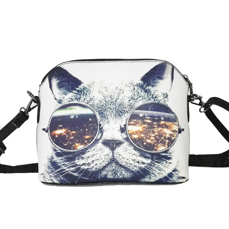 Hot sale 2016 Cats Printing women Handbag Shell bag women PU leather messenger bag women small bag WLHB1116(China (Mainland))