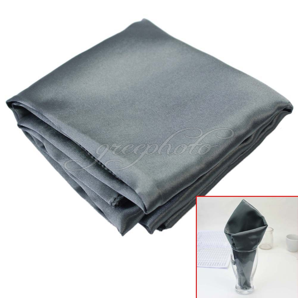 "20""x20"" Satin Silver Grey Dinner Napkin Cloth For Restaurant Wedding Party Decor(China (Mainland))"