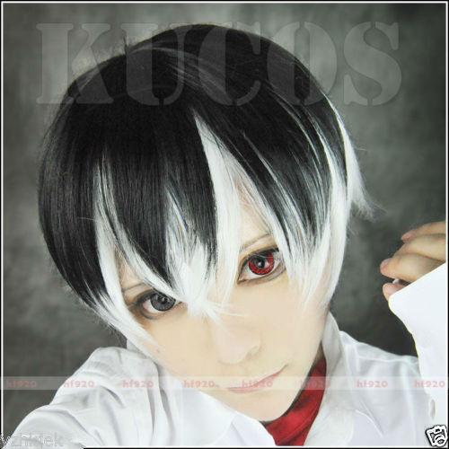 song wig.000075 NEW Tokyo Ghoul Re sasaki haise Kaneki Ken Black White Short Cosplay Costume Wig<br><br>Aliexpress
