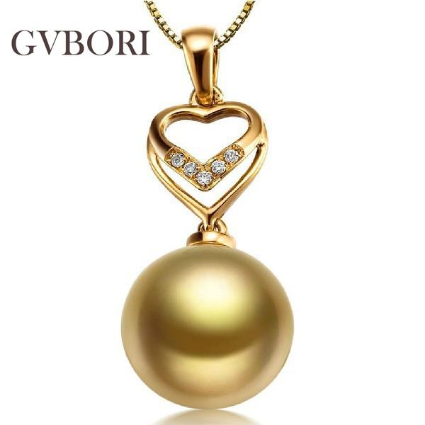 GVBORI 18K Yellow Gold Diamond SouthSea Golden Pearl Pendant For Women Diamond Pendant Luxury Fine Jewelry Wedding/Party<br><br>Aliexpress