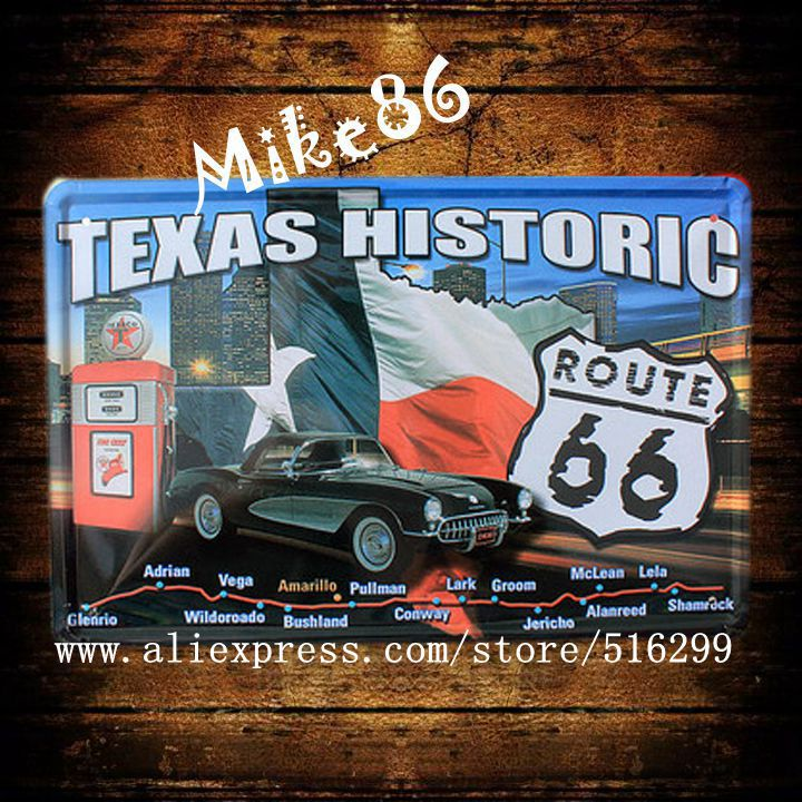[ Mike86 ] TEXAS HISTORIC Route66 Metal plaque Painting Wall Decor Retro Pub Craft Tin Sign 20*30 CM Mix Items A-1047(China (Mainland))