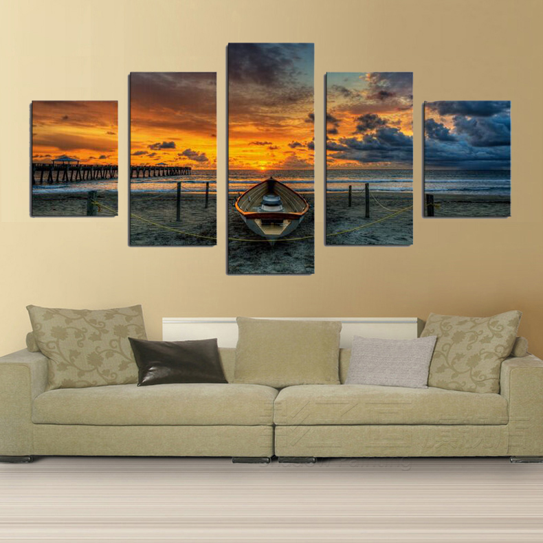 Print Art Canvas Painting Unframed 5 Piece Large HD Seaview Boat For Living R