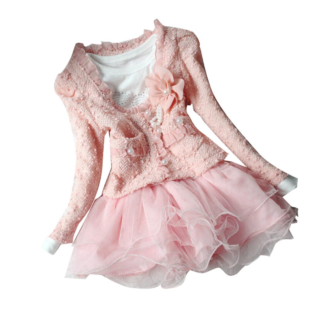 2015 New Dress + Jacket Beautiful Baby Girls Cardigan And Diamante Dress Tutu Dress Children 2-7 Years Dress(China (Mainland))