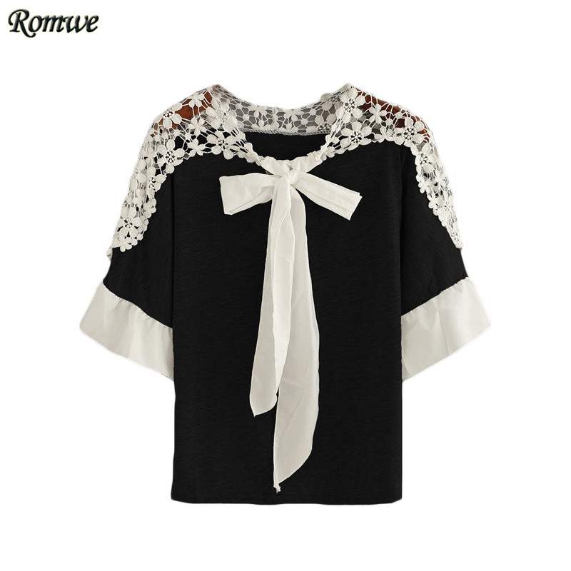 ROMWE Summer Ladies Lace Insert Tie-Neck Ruffled Half Sleeve Tops Womens Casual Round Neck Slim Color Block Blouse(China (Mainland))