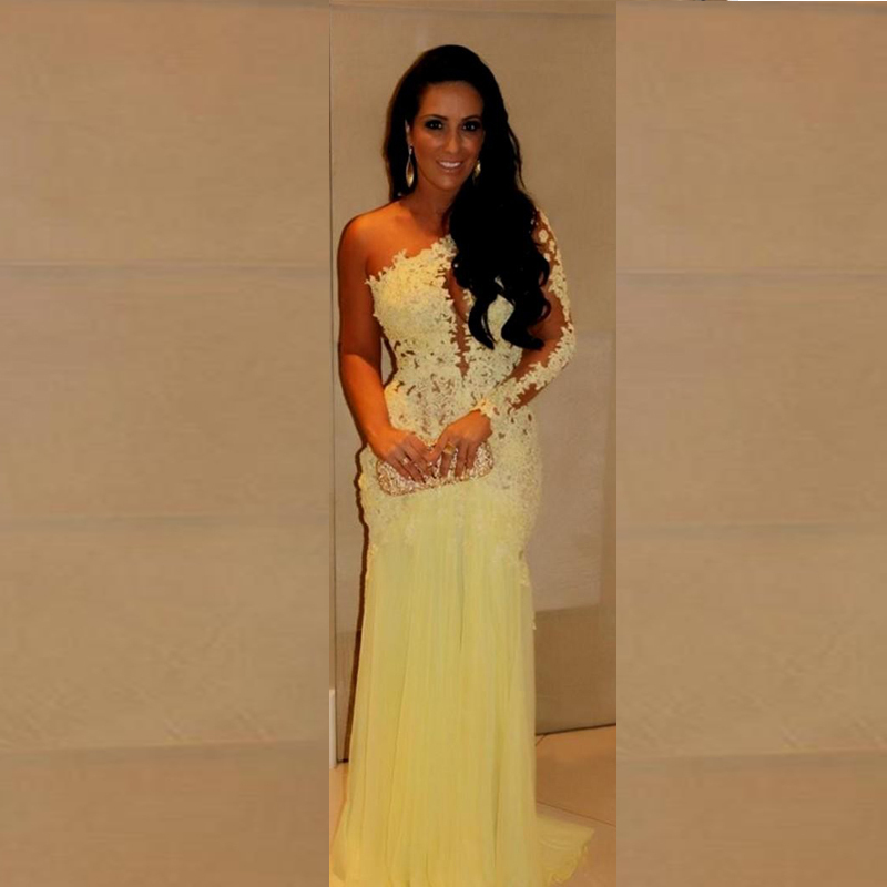 Yellow Prom Dress With Sleeves Long Sleeves One Shoul...