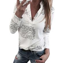 Moda mujer V cuello manga larga Sexy playa blusa Camisas Casual letras impresas Tops Camisas Slim Fit talla grande(China)