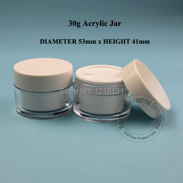 30pcs/lot Promotion 30g Plastic Acrylic Cream Jar Double Wall 30ml Facial Mask Pot Empty Cosmetic 1OZ Container Packaging(China (Mainland))