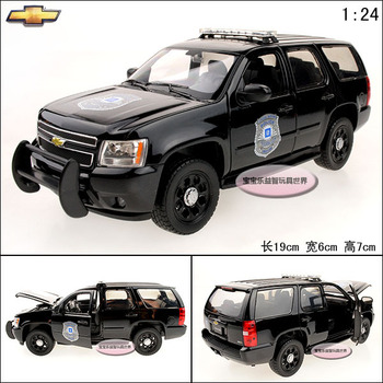 1:24 toy model CHEVROLET Tahoe police car exquisite alloy car model free air mail boy toys black suv model