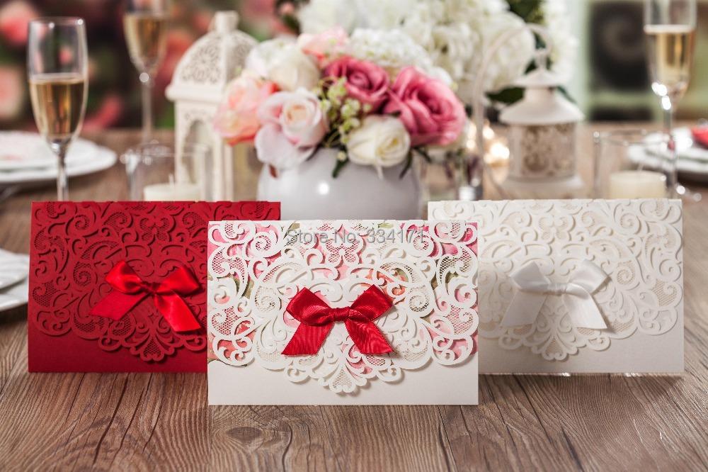 2015 newly arrival 50pcs/set free envelop and free seal Elegant laser cut with ribbon Wedding Invitation CW5016 5081 5079(China (Mainland))