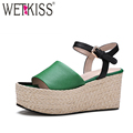 WETKISS 2017 Genuine Leather Women Shoes High Straw Weave Wedges Platform Women Sandals Ankle Strap Sexy