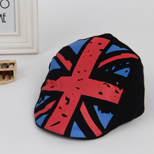 Boy Girl Kids Hat British Flag Beret Children Cap Tartan Design Children Headdress 2-6Y
