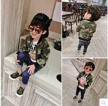 2016 new spring coat boys handsome Korean kids children jacket camouflage Baby Sweater zipper tide