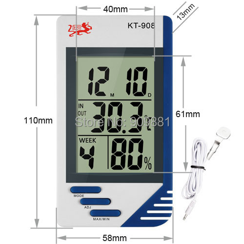 Multifunction Digital LCD Thermometer KT908 High Precision Temperature Humidity Meter Alarm Clock Temp Portable And Easy To Use(China (Mainland))