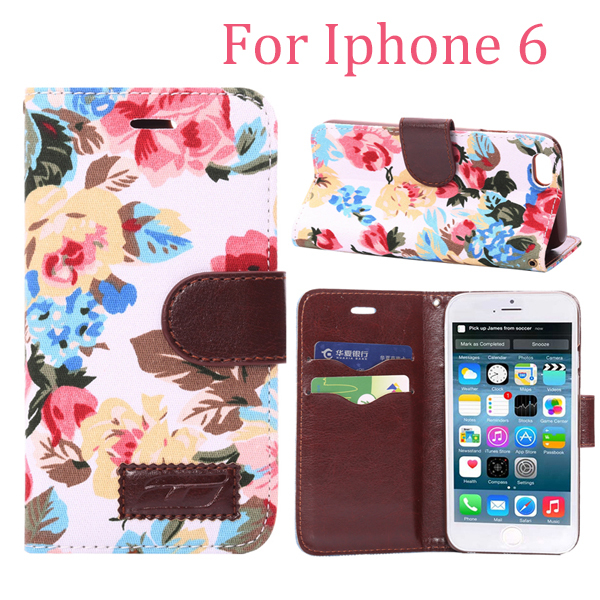New Arrival On Market Flower Design Flip Leather Case for Iphone 6 Countryside Floral Cloth+PU Leather Cover One Piece Retail(China (Mainland))