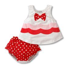 Girls Kids Bowknot Shirts Tops Ruffled Pants 2Pcs Set Dots Toddler Clothes 6M 3Y