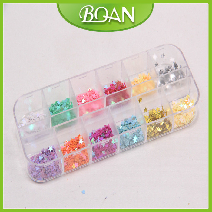 1 Box New Arrival BQAN 12 Colors Shiny Star Shape Paillette For Nail Art Decoration(China (Mainland))