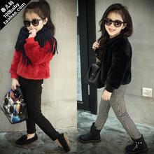 New year 2016 winter fashion girls clothes female child clothing thermal plus velvet thickening plush shirt pullover sweatshirt(China (Mainland))