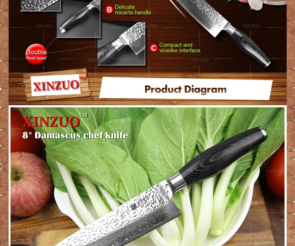"""Buy HIGH QUALITY XINZUO 8"""" inch chef knife Japanese Damascus kitchen knife woman chef knife Color with wood handle free shipping cheap"""
