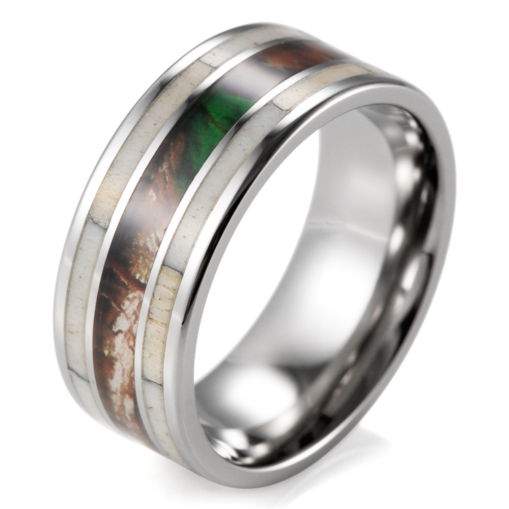 Unique Men's Camo Wedding Band with Real Antler Titanium Outdoor Hunting Ring for men male jewelry engagement wedding ring band(China (Mainland))