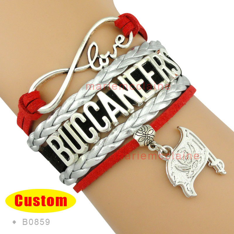 (10 Pieces/Lot) Infinity Love NFL Tampa Bay Buccaneers Football Team Bracelet Red Silver Black - Custom Any Themes and Styles(China (Mainland))