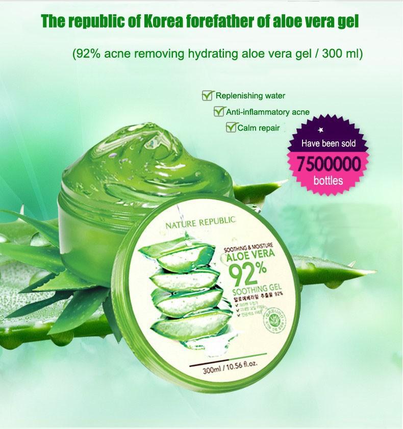 Skin Care Nature Republic Aloe Vera Gel Essence Whitening Moisturizing Anti-aging Remove Spots Acne Treatment Cream Face Care(China (Mainland))