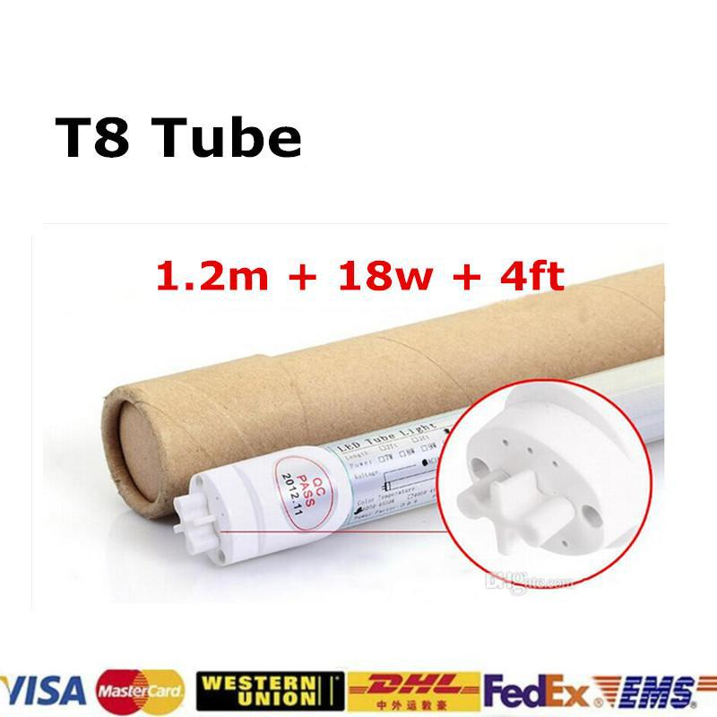 18W T8 LED Tubes 4ft 2000lm Lights Lamps 110V SMD 2835 Led Fluorescent Bulbs Lighting 1200mm 1.2M 4 Feet 96 85-265V CE ROHS(China (Mainland))