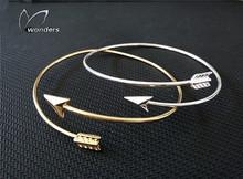 2016 Minimalist Jewelry Bridesmaids Gift Gold Silver Plated Punk Adjustable Fashion Arrow Wrap Bracelet Bangle for Women(China (Mainland))