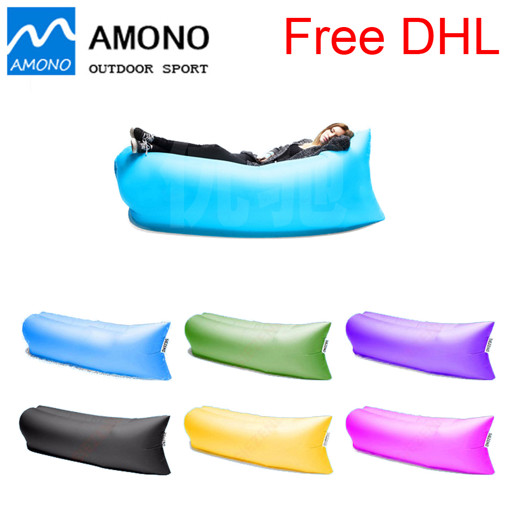 Free DHL 230*70CM Outdoor Inflatable Couch Camping Furniture Sleeping Compression Air Bag Lounger Hangout Fabric 200kg Bearing(China (Mainland))