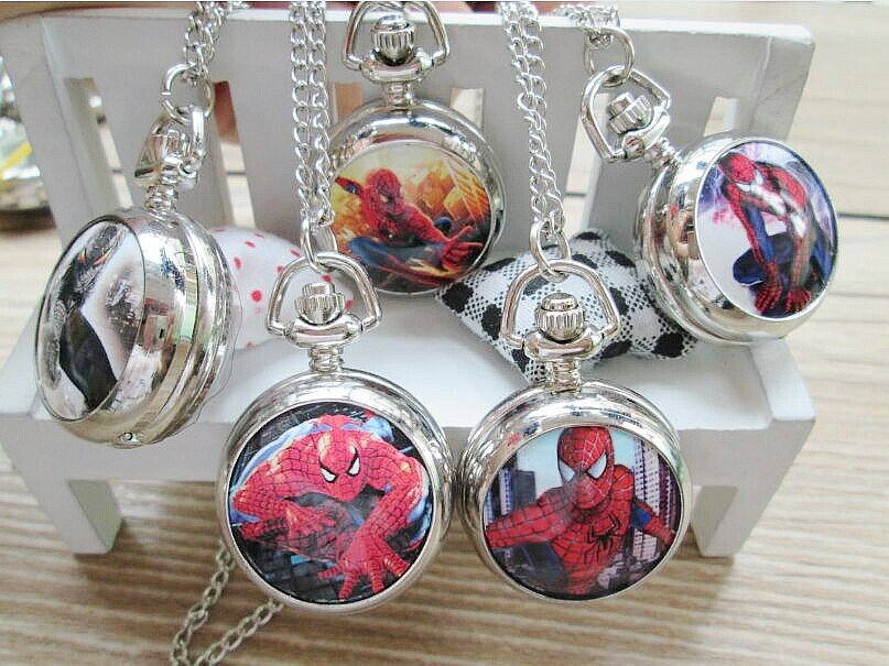 2015 new Marvel Super Heros Spiderman Necklace Pocket Watch Child Boy Watch Fashion 1pcs
