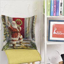 Christmas Santa Claus Pillow cover Linen Cotton Plant sofa Car Cushion cover Home Decor Decorative Pillowcase bedding(China)