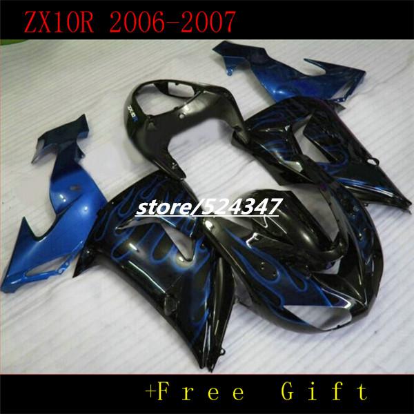 Market hot sales manufacturers Ninja ZX10R 2006 2007 kawasaki Ninja 06-07 smooth ink black motorcycle fairing of dark blue flame(China (Mainland))