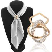 Bluelans Gold-plated Crystal Silk Scarf Clip Buckle Holder Twine Brooch Pins Jewelry Gift(China (Mainland))