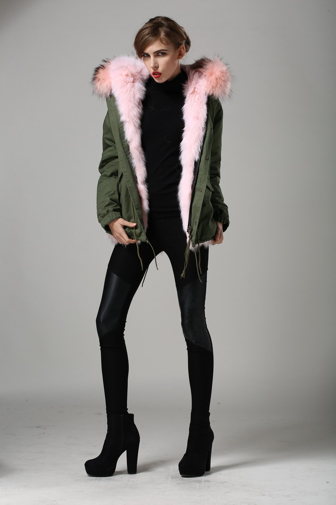 2016 Pink Style Real Furs Women Parka Jackets Fashion Show Outwear Real Fox Furs All Of The Coat