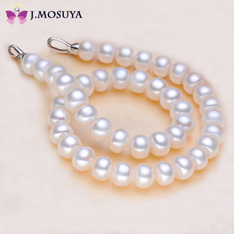 High Quality Genuine Freshwater Natural Pearl Necklace Women's White/Purple/Pink Pearl Jewelry(China (Mainland))