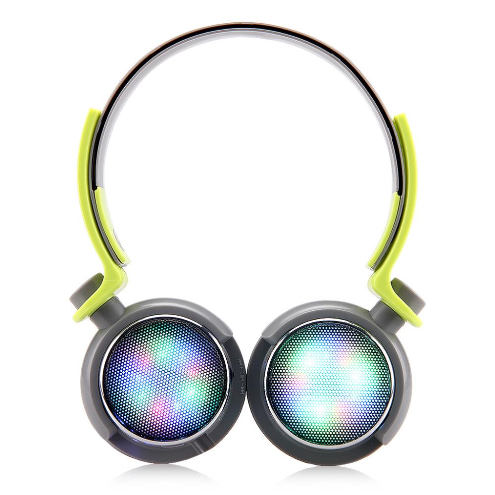 HOT!! EXCELVAN Wireless Bluetooth Headphones Spectrum LED Flashing Fashional Colorful Design with Mic/TF Card Slot/FM Radio GREY(China (Mainland))