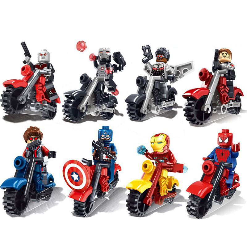 8pcs/lot Minifigures The Avengers Super Heroes Motorcycle Building Blocks Bricks Set For Kids Legoelieds Avengers Marvel(China (Mainland))