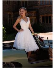 Buy Custom Made A Line V Neck Bridal Dresses Appliques Beaded Short Wedding Dress Vestidos De Novia Bridal Gowns abiti da sposa for $115.00 in AliExpress store