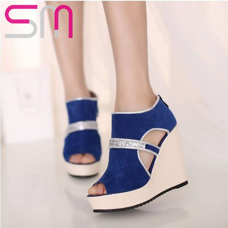 Fashion 2015 High Wedge Summer Slip On Sandals Sexy High Platform Gladiator Flip Flop Shining Sequined Nubuck Summer Heel Shoes(China (Mainland))